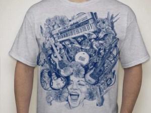 Mojo Mens t-shirt, blue print, gray shirt