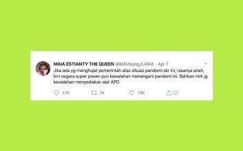 maia estianty twit viral kritik pemerintah donasi kitabisa apd rumah sakit tes untuk masyarakat sosialita arisan tempey twitter mojok.co