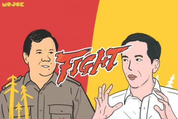 Baju putih Jokowi vs baju safari Prabowo MOJOK.CO