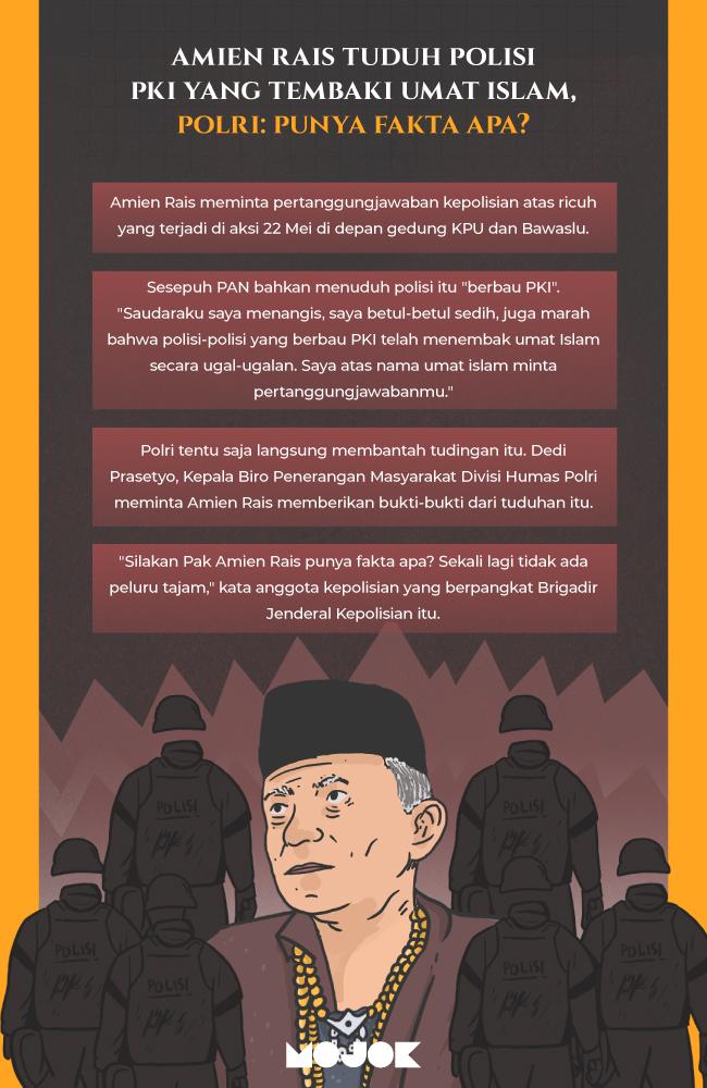 Infografik Amien Rais Tuduh Polisi PKI yang Tembaki Umat Islam, Polri: Punya Fakta Apa?