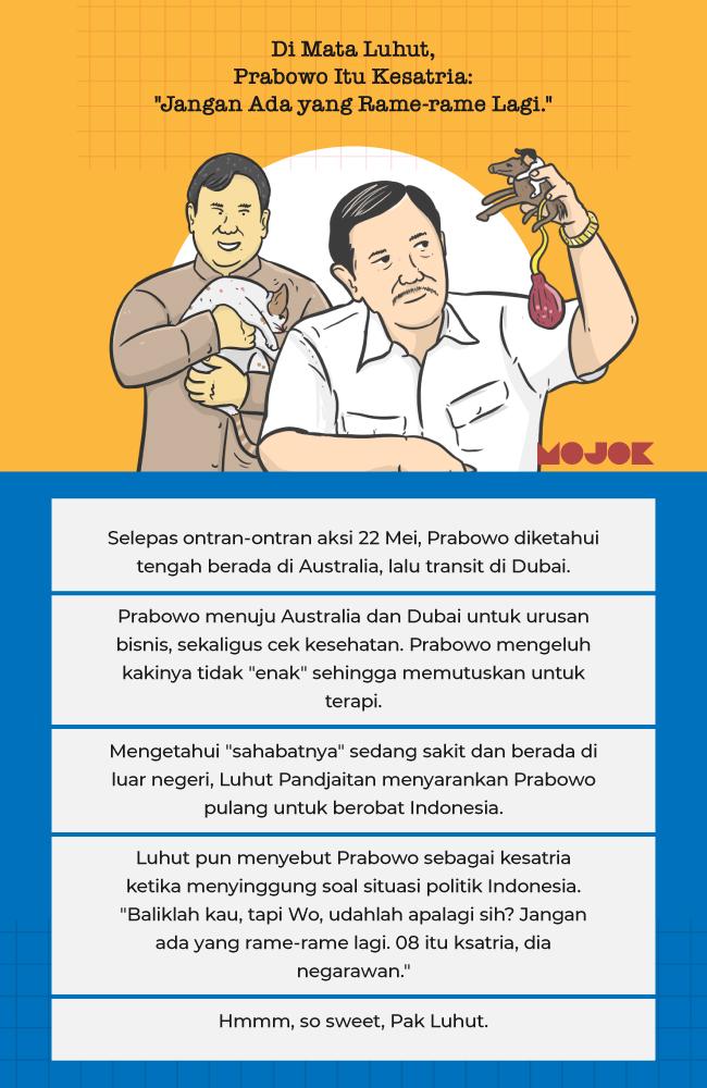"""Infografik Di Mata Luhut, Prabowo Itu Kesatria: """"Jangan Ada yang Rame-rame Lagi."""""""