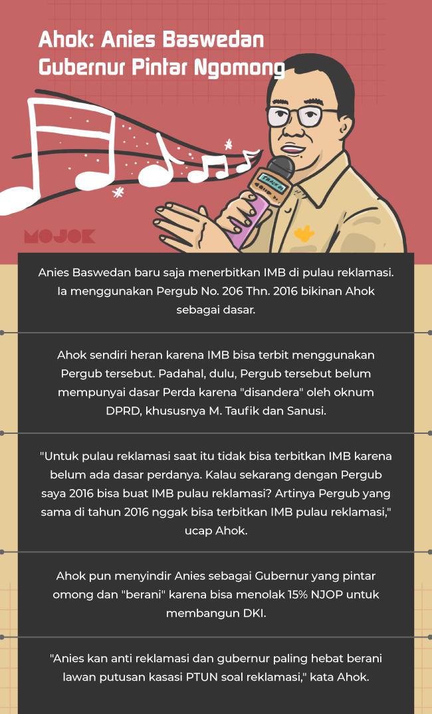 Infografik Ahok Sindir Anies Baswedan: Gubernur Pintar Ngomong