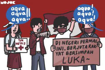 aqua dan demo mahasiswa MOJOK.CO