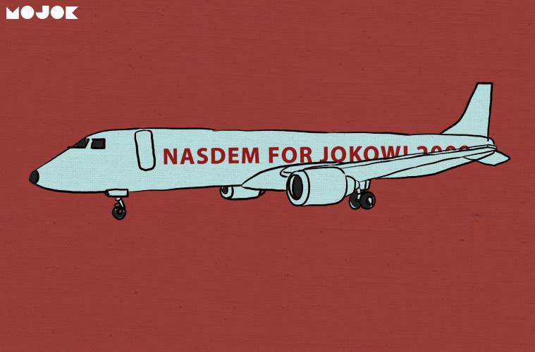Dukungan Nasdem untuk Jokowi di Badan Pesawat Milik Surya