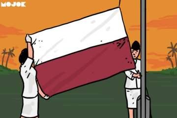 bendera terbalik upacara 17 agustus hari ulang tahun kemerdekaan indonesia