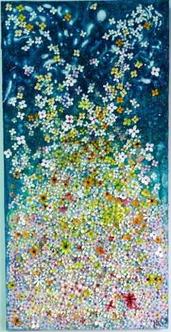 """Watercolour and gouache painted flowers on board covered with gouache- painted """"washi"""" Japanese paper 90 cm x 45 cm x 2cm Submitted to the Luxembourg Art Prize, 2017"""