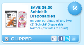 schick disposable coupon $6 off two Schick Disposable Razors Coupon = Free + $2 Overage at Walmart!