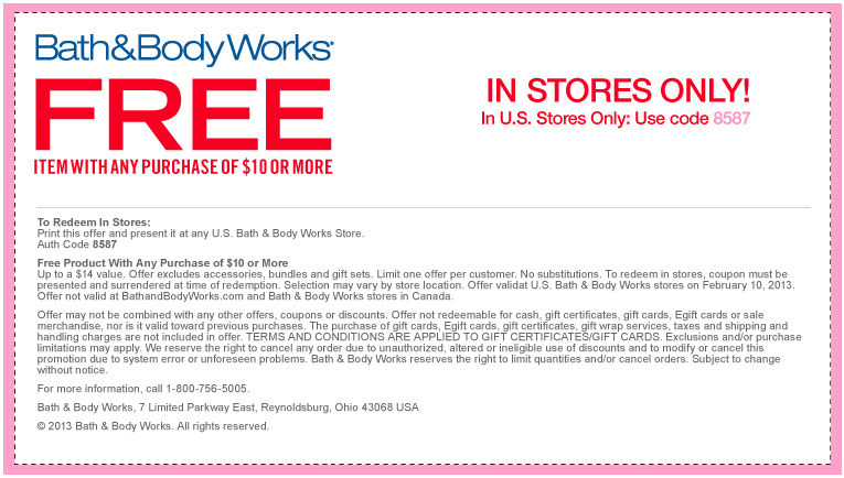 2014 Coupons Bath Body And Feb Works Store