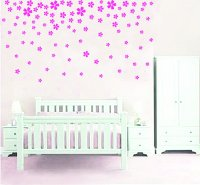 Pink Flower Wall Sticker Decals - mojosavings.com