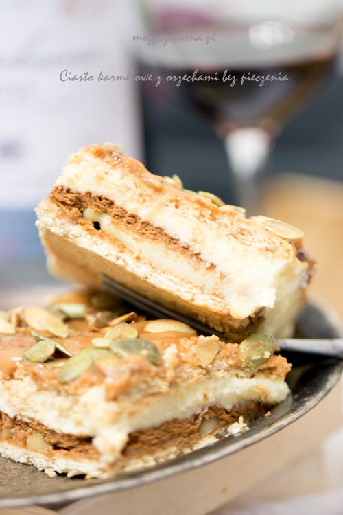 Ciasto karmelowe z orzechami bez pieczenia