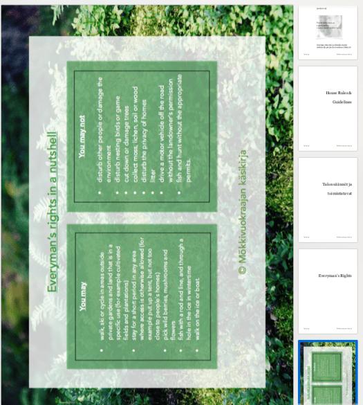 Jokamiehenoikeudet -sivu englanniksi