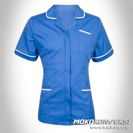 Jual seragam model baju perawat modern warna biru putih untuk rumah sakit online