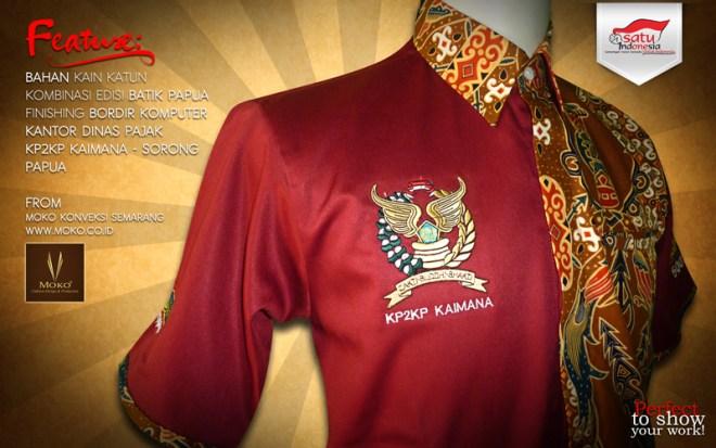 Model Baju Batik Kombinasi Seragam Dinas Pajak KPP Sorong Papua Indonesia