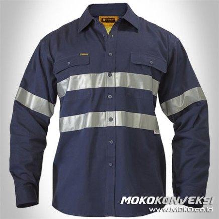 Harga Seragam Safety Desain Baju Wearpack Warna Biru Donker / Navy Polos Scotchlite Tape Terbaru