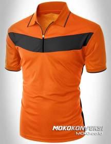 model baju kaos berkerah terbaru polo shirt zipper warna orange hitam moko konveksi