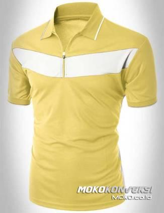 kaos katun murah polo shirt zipper warna kuning putih moko konveksi