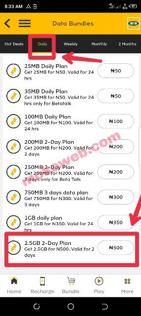 MTN 2.5gb for n500
