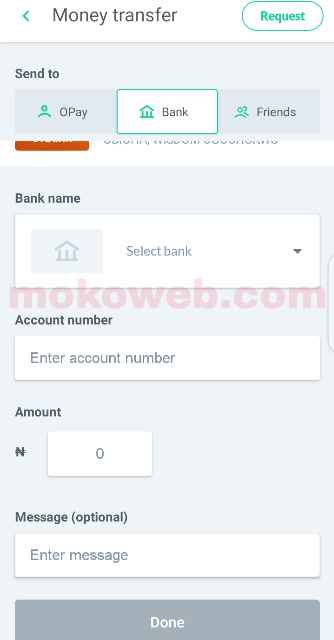 Transfer opay money to bank