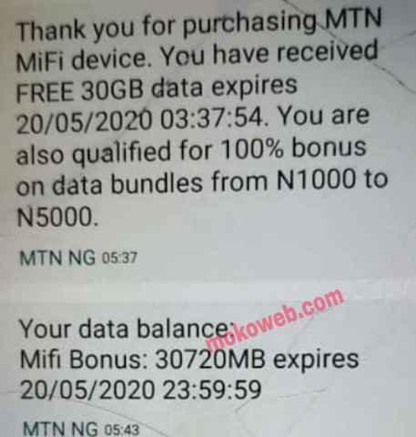 MTan mifi free 30GB bonus