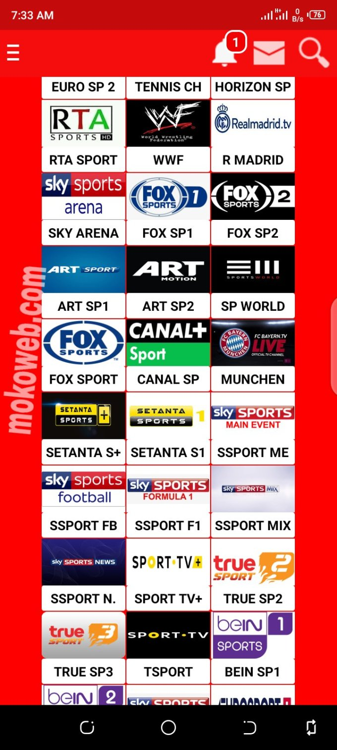 TV channel list