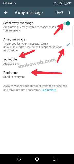 Whatsapp auto reply settings