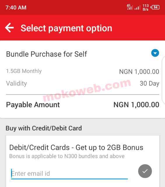 Buying data bundle