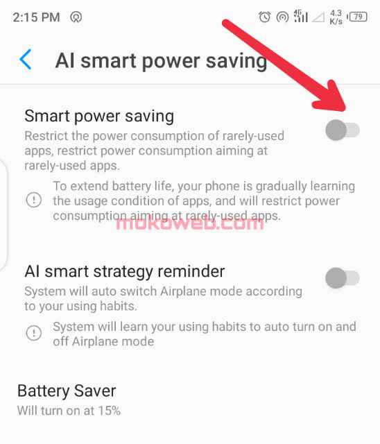 disabling power saving mode on android