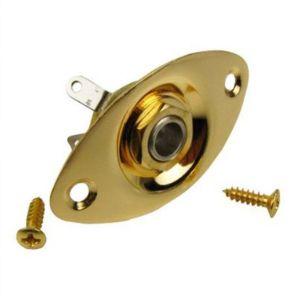 Guitar Jack plate oval football 1/4′ gold + Jack input