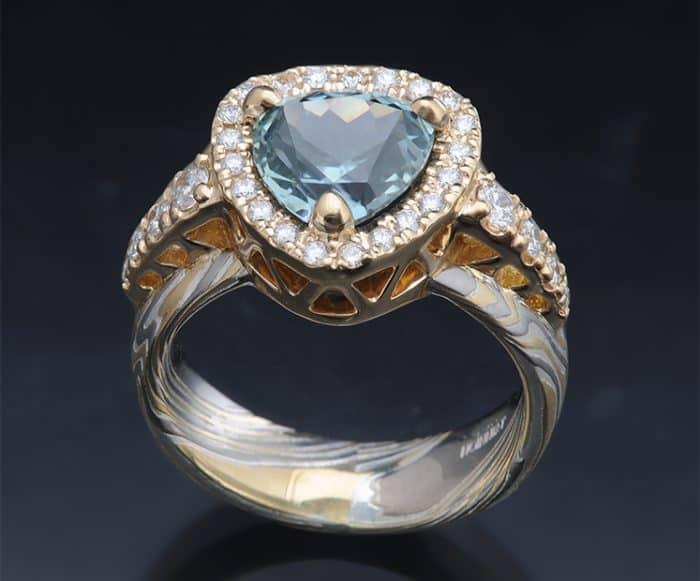halo sapphire diamond ring