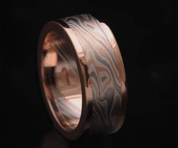 MENS FLAT RED GOLD WEDDING BAND