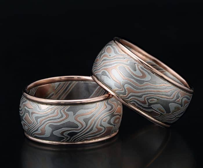 wide mokume wedding bands
