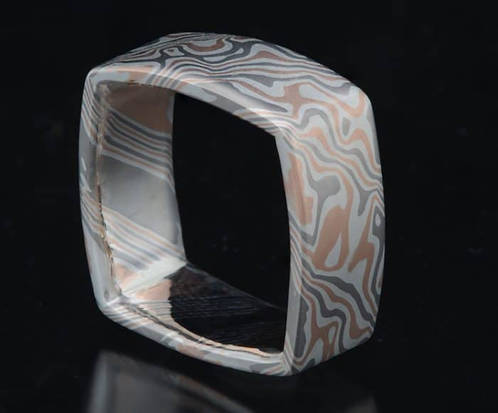 unique mokume square ring