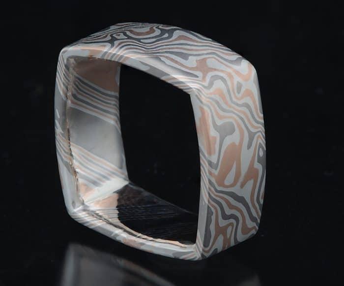 unique mokume square ring