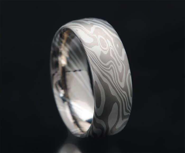 white gold mokume wedding ring