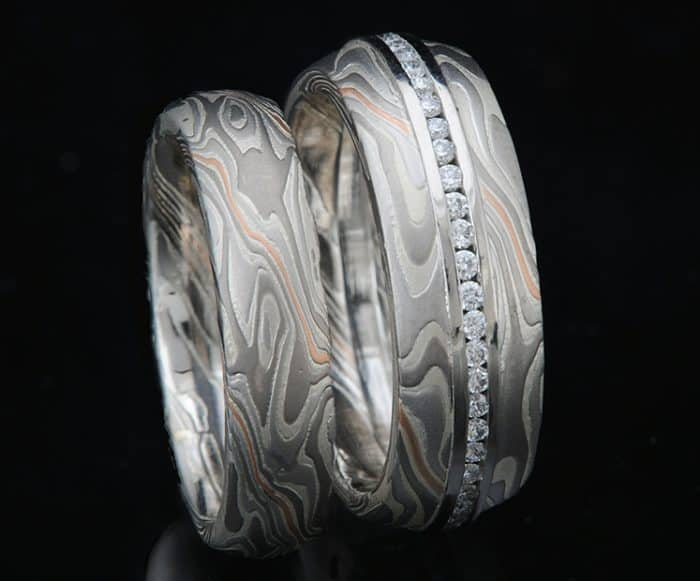 Platinum and Palladium Wedding Set