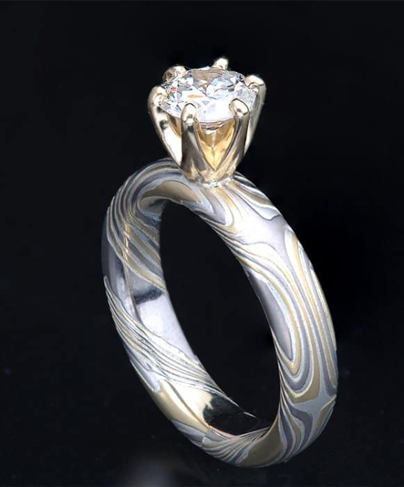 classic gold prong diamond engagement ring