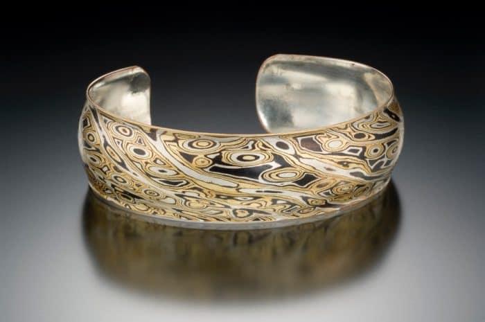 wide mokume cuff bracelet