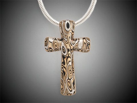 unique cross in mokume