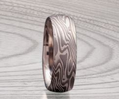 white gold mokume ring