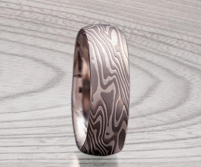 white gold mokume ring