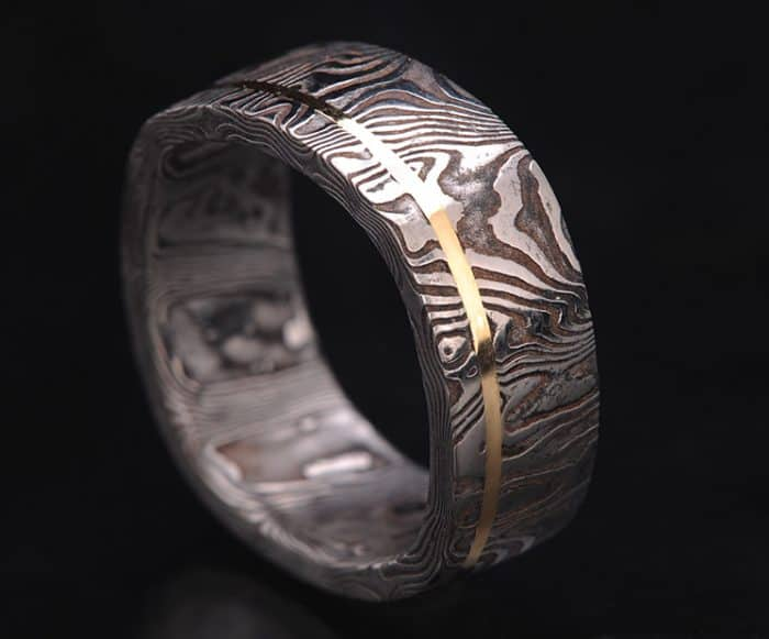 black and gold stainless steel wedding ring