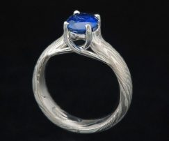 palladium and sapphire engagement ring