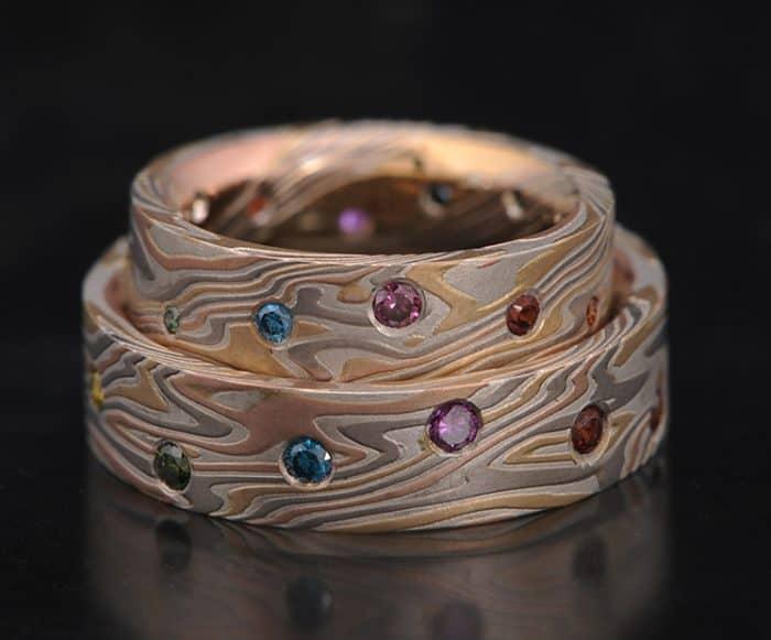rainbow diamond wedding bands