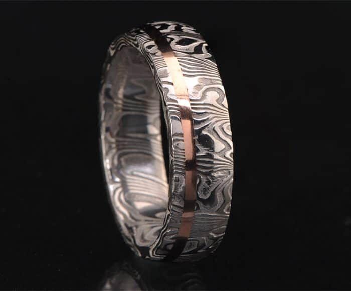 stainless steel red gold wedding band