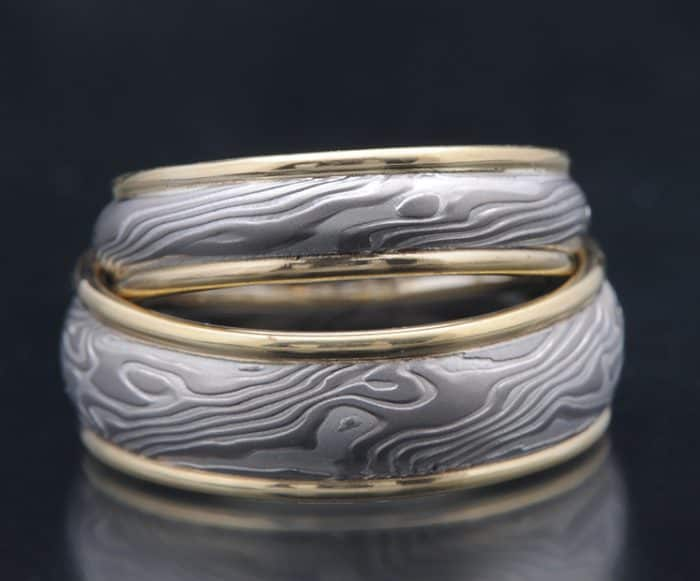 palladium and gold mokume wedding ring