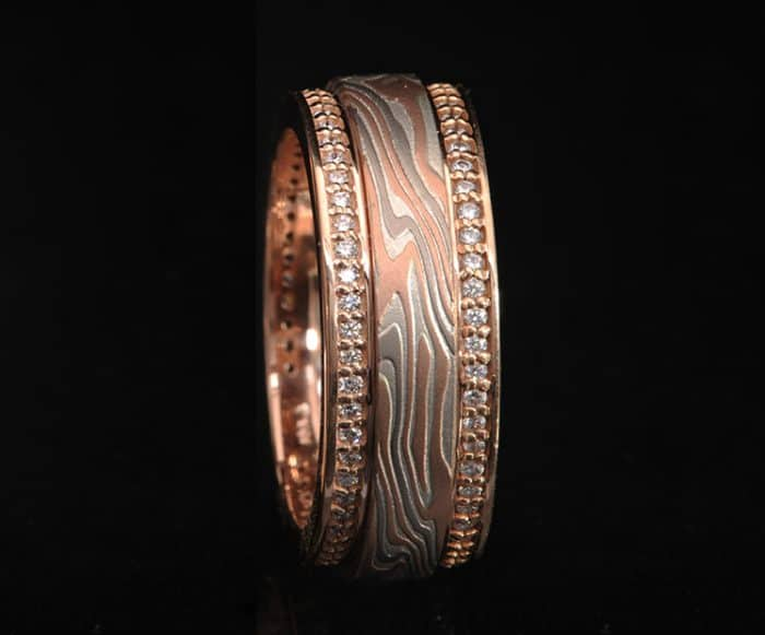 unique red gold and diamond wedding ring