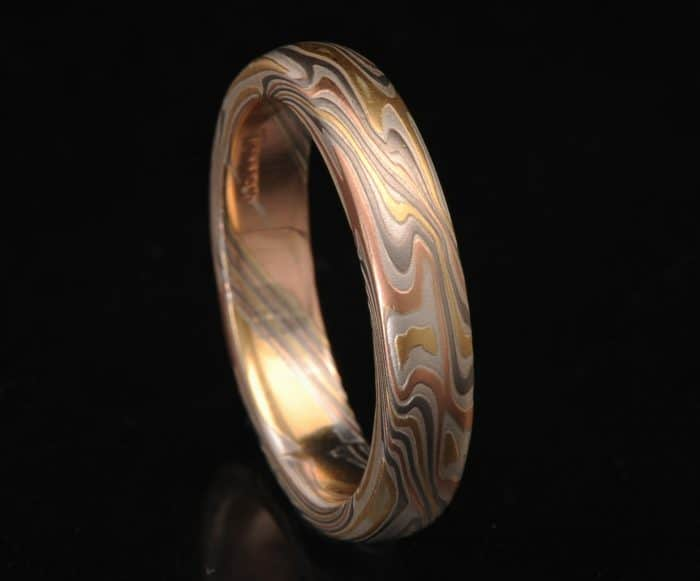 narrow multi-gold wedding band