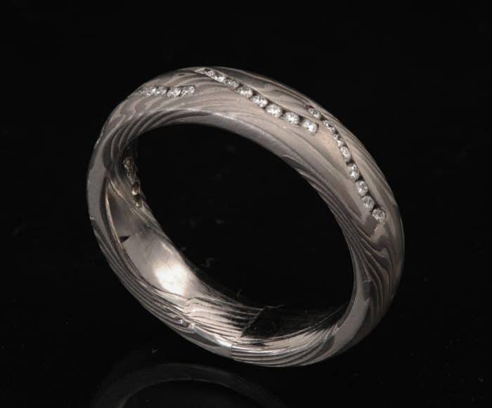 palladium diamond wedding ring