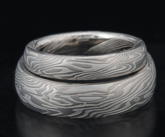 MATCHING ETCHED PALLADIUM WEDDING BANDS