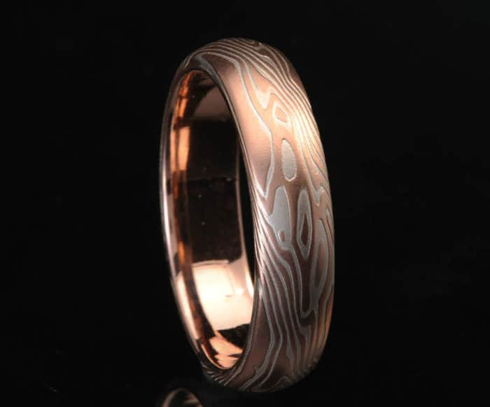 unique red gold mokume ring